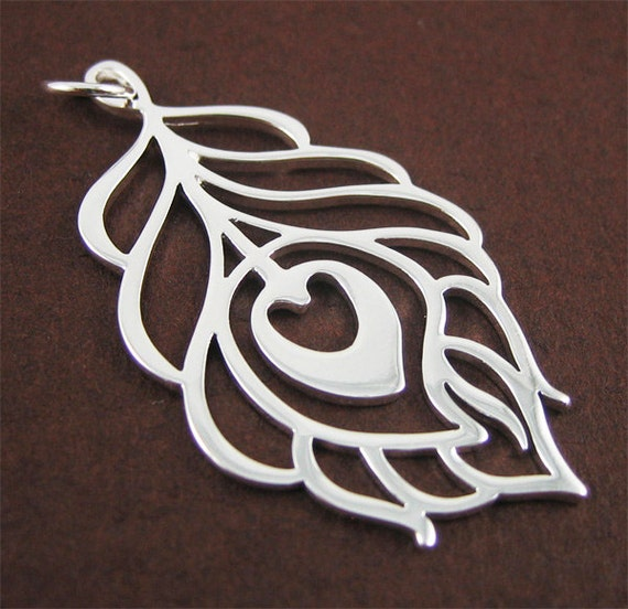 RESERVED for Tiffany only - Silver Peacock Feather Pendant - large