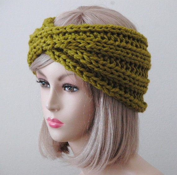 Items similar to Lemongrass Green Knit Headband - Twisted ...