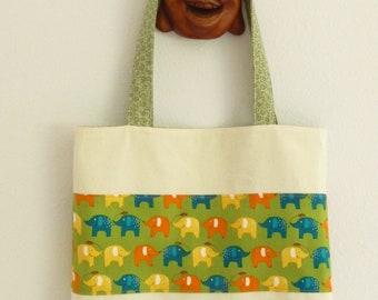 Fabric Tote Bag Elephant Book Bag School Bag Beach Bag Reusable Shopping Bag  Cotton