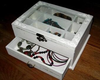 Cream Shabby Chic Wooden Jewelry Box