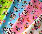 2 Yards Japanese Cotton Fabric Retro Panda Tokimeki Friends Flowers Neon Rabbit Bear 4 colors to choose