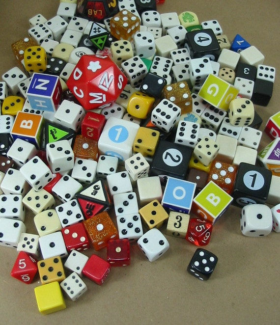 175  Assorted New Vintage Dice Die Collage Mixed Media Games