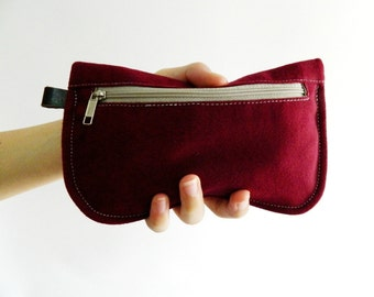 SALE SALE SALE  20% Sale - // D- Pouch in Rose Red // Wallet / clutch / cosmetic bag / iphone case / travel / Women / Pouch