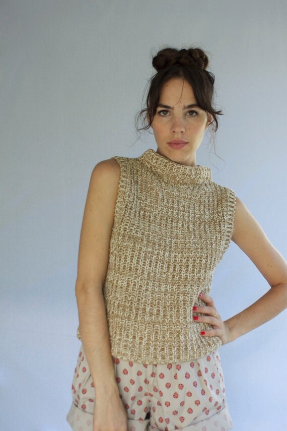 1980s Oatmeal Chunky Summer Knit Size S-M