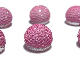 13mm flatback ball cabochon resin rhinestone half bead in Rose Pink