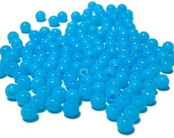 4mm Smooth Round Acrylic Beads in Sky Blue 200 beads