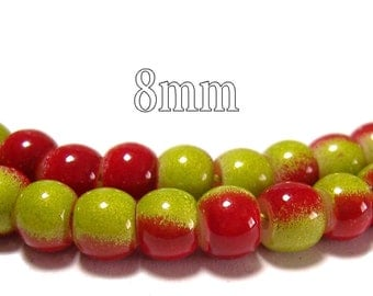 8mm Glass Beads in Lime and Red 50 pcs