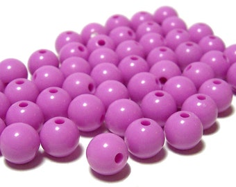 BULK QUANITITES 8mm Smooth Round Acrylic Beads in Lilac 200 beads