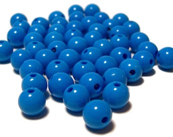 8mm Smooth Round Acrylic Beads in Azure 50 pcs