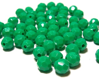 8mm Opaque green faceted acrylic round beads 100pcs