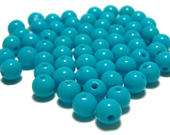 6mm Smooth Round Acrylic Beads in Turquoise color 100pcs