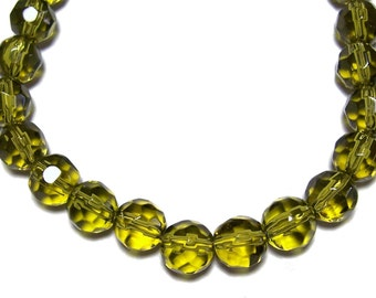10mm Olive green faceted glass beads 25pcs