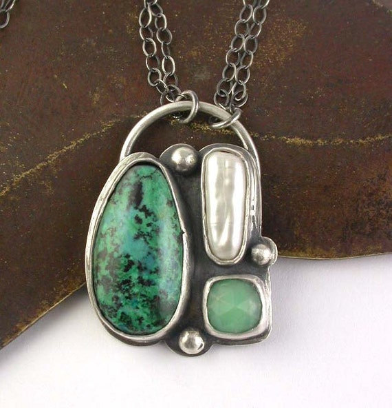 Reduced - Chrysocolla Pearl and Chrysoprase - Stone and Sterling Silver Pendant