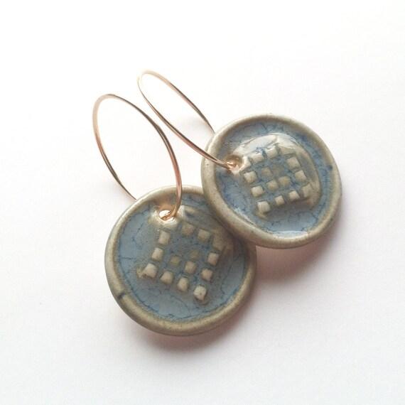 Porcelain Earrings Glazed in Soft Blues