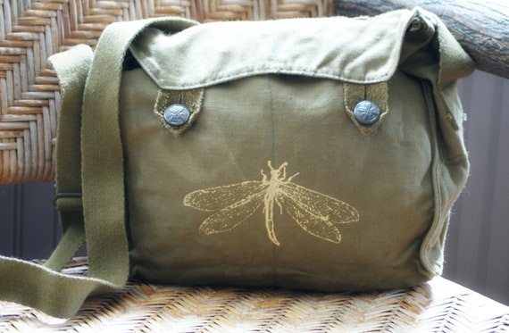 Vintage Military Bag with Golden Dragonfly