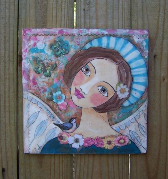 "Folk Art Angel Encaustic Painting 12"" x 12"" Salvaged Wood Original FREE SHIPPING"