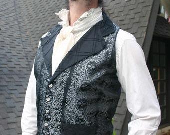 Black and Silver Jolly Roger Skull Silk Brocade Steampunk Victorian Lapeled Gentlemen's Vest