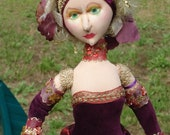 Hand Sculpted Cloth Art Doll In Red Valentine Velvet on Ornate Candle Stick