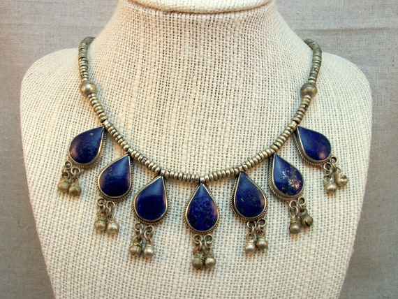 Vintage Lapis Drop Necklace - Middle Eastern African Tribal Jewelry