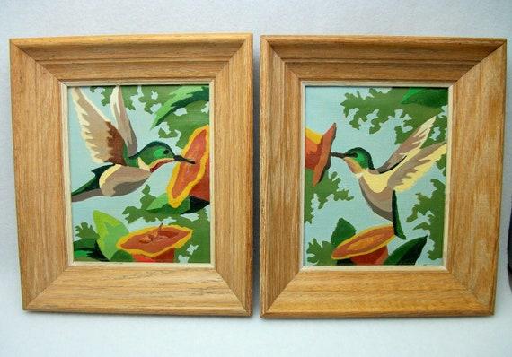 Hummingbird Paintings - Vintage Paint-by-number in Oak Frames