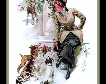 Vintage Woman and Dogs Refrigerator Magnet