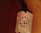 Medical Alert Dogtag WWII style hammered Aluminum Nickel Free on leather cord