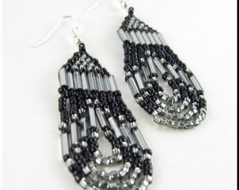 Native American Style Seed Bead Earrings Dangle in Loop De Loop Metallic Gray