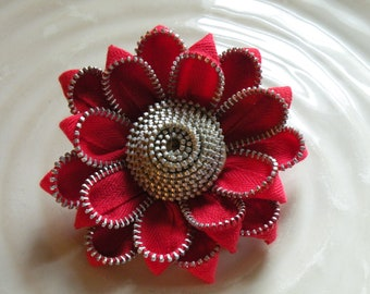 Red Recycled Vintage Zipper Flower Pin Brooch or Hair Clip