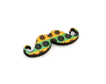 Floral Patterned Moustache Brooch, Father's Day Gift