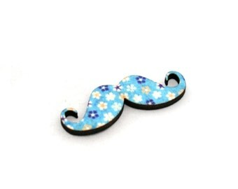 Moustache Brooch, Floral Pin, Movember Facial Hair Accessory, Father's Day Gift