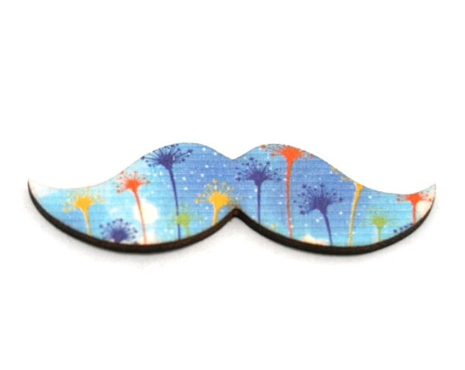 Moustache Brooch, Blue Dandelion Pin, Movember Facial Hair Accessory, Father's Day Gift