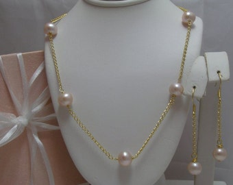 Genuine Cultured Freshwater Pearl Tin Cup Necklace and Earrings Set pink pearls