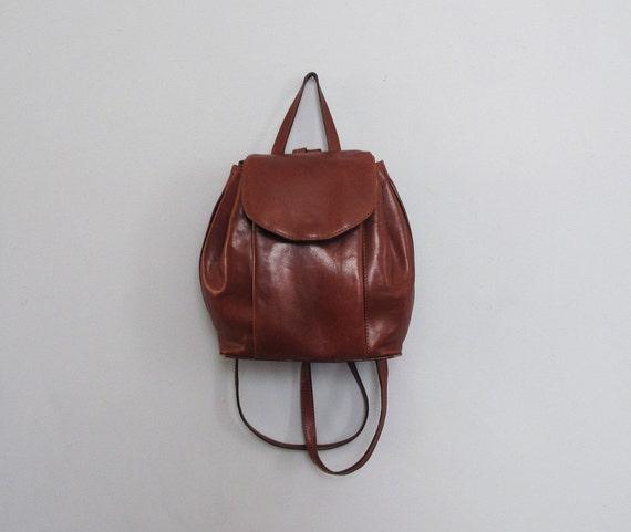 vintage LEATHER dark brown backpack
