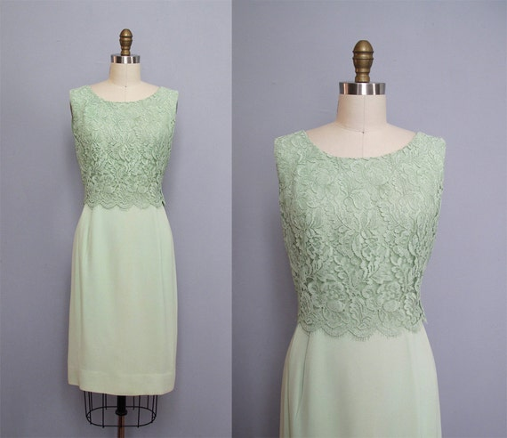 1960s MINT GREEN lace party dress S
