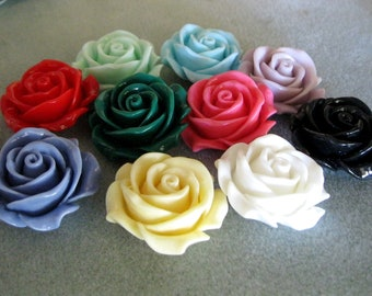 Drilled Resin Rose Flower Beads with Hole Choose Your Colors 34mm 927