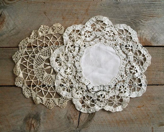 Antique Edwardian Lace Doily Set