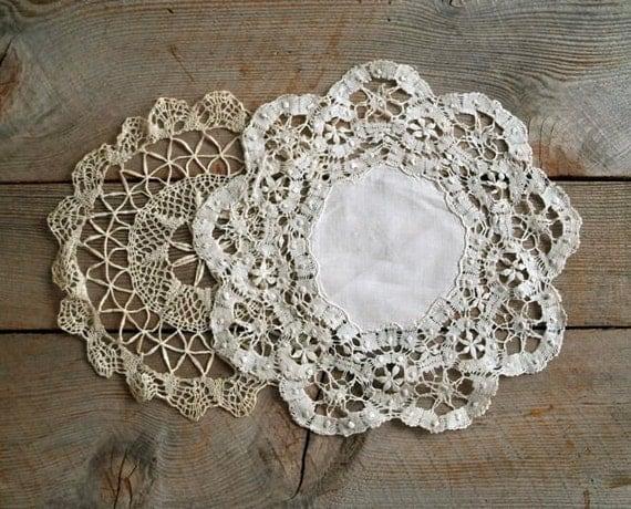 Antique Edwardian Lace Doily Set