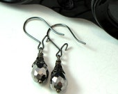 Gunmetal AB Silver Earrings Crystal Noir Exclusive Design By Mystic Pieces