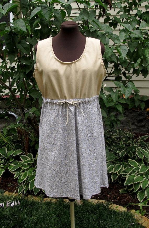SALE  Sleeveless Dress - Gathered Empire Waist - Upcycled Cotton - Size Large/Extra Large