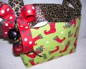 Christmas Fabric Organizer Bin Storage Container Cheetah Stockings