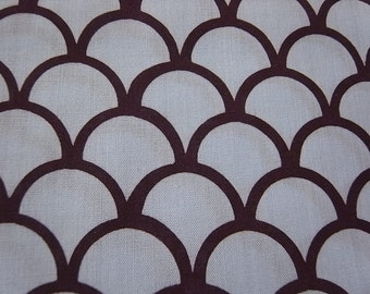 Hand-printed grey & brown cotton fabric fish-scale pattern