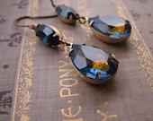 DARK NIGHT  sapphire drop earrings vintage blue and topaz rhinestones