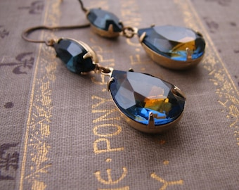 DARK NIGHT  sapphire drop earrings vintage blue and topaz rhinestones
