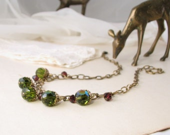 Olivine bib necklace red and green vintage crystal