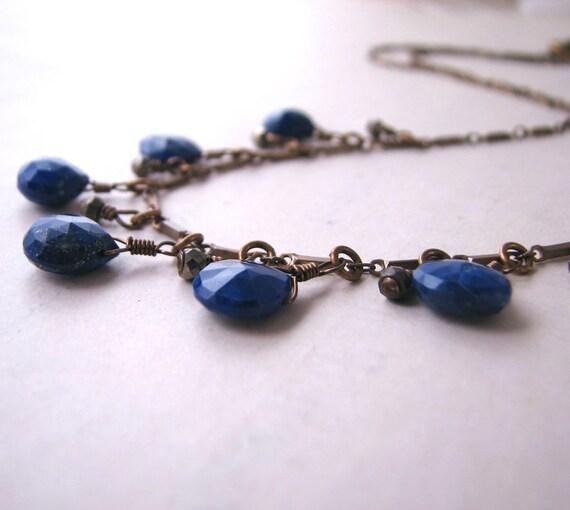 Lapis Jewelry rustic lapis lazuli and pyrite fringe necklace boho summer
