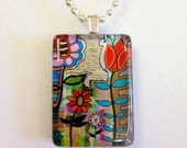 Funky Floral Glass Pendant--Art Jewelry