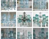 Vintage Mason Jar Chandelier...Aqua Crystals....Made To ORDER...Plethora of Treasuries..LAYAWAY Available