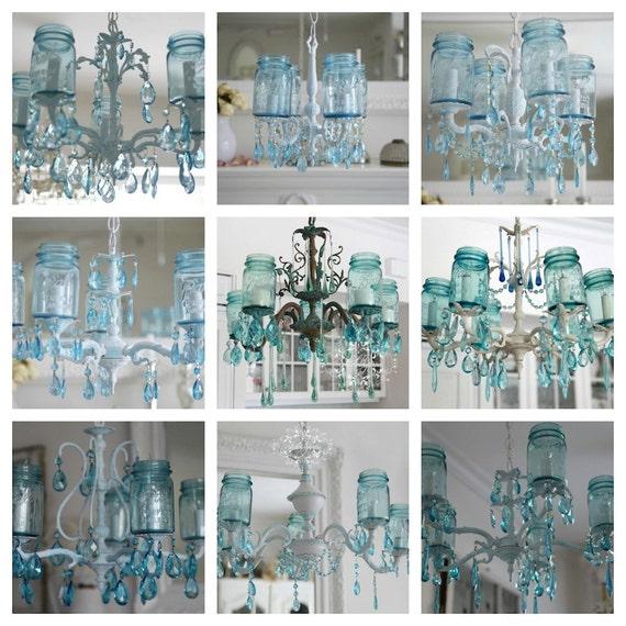 Mason Jar Chandelier: Items Similar To Vintage Mason Jar Chandelier...Aqua