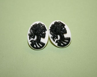 Small Black and White Skull Lady Cameo Earrings