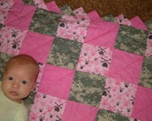 Last One! Your My Hero ACU Camo and Pink Baby Quilt